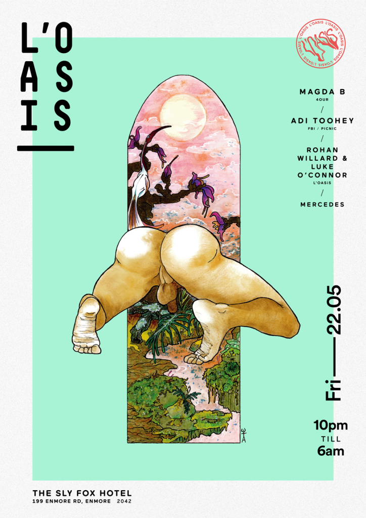"The ""low hanging testicles"" on the L'Oasis party poster. Art by Arben Dzika"