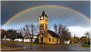 Rainbow over church. Photo: Gregg Ness