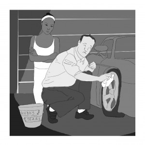 "Cartoon of man washing car with ""Hubby Tears"" bucket"