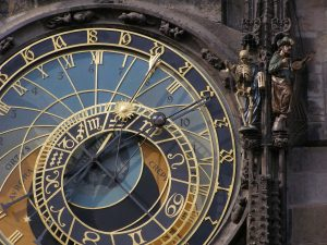 an astrology clock depicts signs