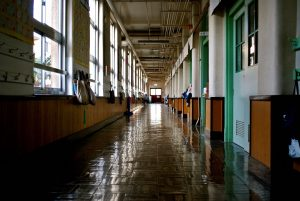 an empty hallway of a school