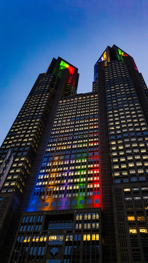 Building with rainbow lights