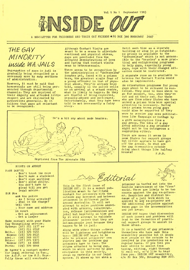 "The front page of the first Inside Out from 1983. It is subtitled ""a newsletter for prisoners and their gay friends"". It features two articles, an editorial and an article titled ""the gay minority inside W.A. jails. It also features of a comic of three nude people, one with their head in a paper bag, with a caption that says ""he's a bit shy about nude beaches""."