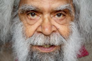 a close up of Uncle Jack Charles' face.