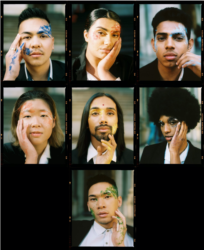 Photo strips of individual portraits of each model