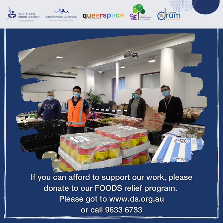 Volunteers and staff sorting food donations